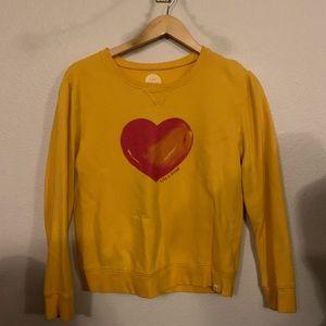 Life Is Good Golden Yellow Red Heart Sweatshirt S